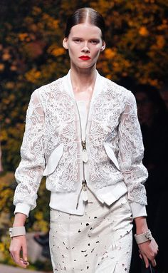 Loewe white sheer mesh and embroidered laser cut bomber jacket