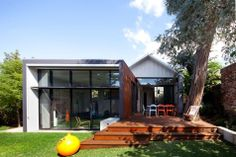 Modern addition to traditional house