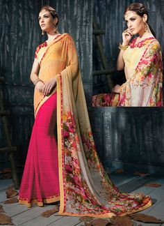 Pyrrhic Orange & Pink Georgette Designer Saree - shopneez.com