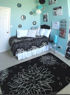 "aqua and black Girls Bedrooms -- My dghtr Makayla wld so love this!! We just saw the ""LIFE"" print in Marshall's last wkend, I took a pic and posted it on IG!! Follow me there @bruisdnotbrkn :)"