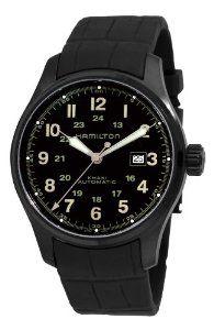 Hamilton Men's H70685333 Khaki Field Black Automatic Dial Watch Hamilton. $523.90. Water-resistant to 330 feet (100 M). Pin buckle. Date. Luminous hands; Round case. Black dial. Save 38%!