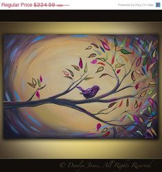 Bird on a Branch painting on canvas huge art 36 x 24 Diy Canvas, Canvas Art, Canvas Ideas, Diy Painting, Painting & Drawing, Bird Paintings On Canvas, Wine And Canvas, Learn To Paint, Tree Art
