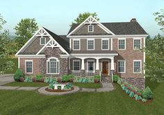 <ul><li>This charming 2,493 square foot home plan features a split 3-car garage with a workshop, a spacious front porch and a brick, stone and siding exterior with shake accents and Craftsman-inspired details. The entry unfolds to a columned dining room, home office and powder room. </li><li>The large gourmet kitchen has an angled breakfast nook and a snack bar to provide additional seating and food prep space. Cabinets and shelves in the breakfast area offer a co...
