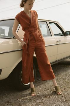 Goodwin | Rust Wrap Jumpsuit