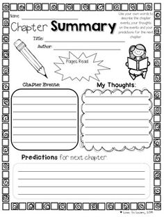 Chapter Summary Worksheet Template  Book Reports