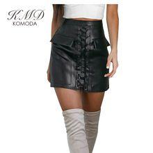 KMD KOMODA Kobiety Mini Spódnice PU Moda Jesień Solid Black spódnice Punk Streetwear Beach Party Klub Sexy Elegancki Krawat Z Przodu spódnice
