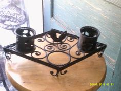 Vintage Wrought Iron Table Top Display by WaterBearingDragon on Etsy