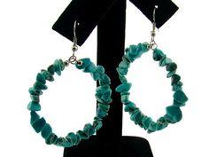 Genuine Semi-Precious Hoop Earrings : Turquoise