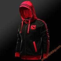 2017 New DOTA 2 Logo Hoodies Men Boys 3XL Large Size Zip Hoody Clothing Black Full Zipper DOTA2 Sweat Shirt