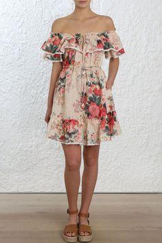 36e15cb38bf7a Zimmermann Laelia Frill Tier Short Dress Boho Mini Dress, Beach Dresses, Short  Dresses,