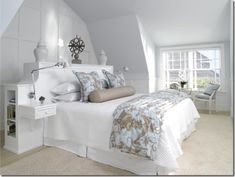 see wardrobe behind bed on wall. Pretty Bedroom, Dream Bedroom, Girls Bedroom, Master Bedroom, Bedroom Decor, White Bedroom, Bedroom Ideas, Wardrobe Behind Bed, Headboard With Shelves