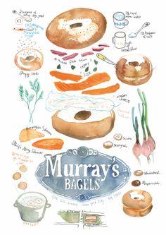 Beautiful Bagels! by Lucile Prache  #LucilePrache #foodillustration #food #illustration #TrafficNYC #Bagels #Murray'sBagels