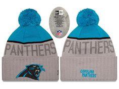Mens   Womens Carolina Panthers New Era NFL Vivid Team Graphics On-Field  Sports Knit Pom Beanie Hat - Heather Grey   Blue 67f7746c3