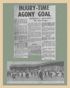Gillingham 0 Shrewsbury Town 1 in May 1968 at Priestfield Stadium. Newspaper on the Division 3 clash.
