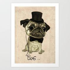 Pug+(gentle+pug).+Art+Print+by+Barruf+-+$17.68