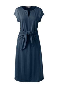 Women's Cap Sleeve Knit Tie Waist Dress