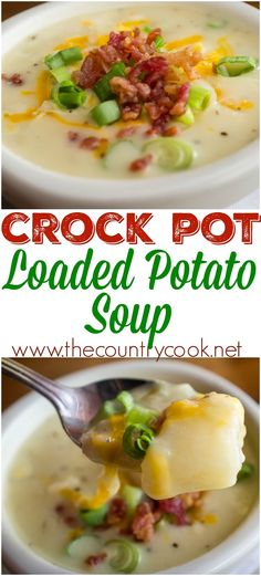 Crock Pot Loaded Baked Potato Soup recipe from The Country Cook