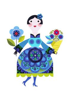 pretty lady with flowers print by EllenGiggenbach on Etsy,