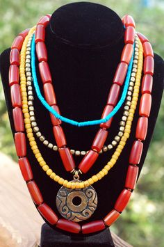 Bali Necklace: Long Amber Resin, Turquoise, Yellow and Bronze Medallion Necklace Ruby Necklace, Tribal Necklace, Tribal Jewelry, Bohemian Jewelry, Beaded Necklace, Bohemian Style, Red Jewelry, Fall Jewelry, Earrings