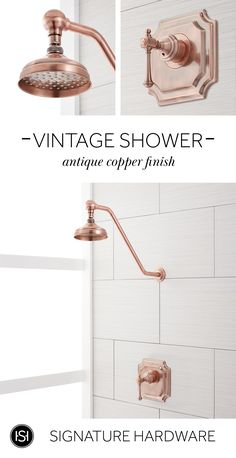 Our Vintage Shower Set is the perfect luxurious addition to any bathroom. The shower head and lever handle feature elegant details that give this product a timeless look. Shop from a variety of finishes including antique copper, brushed gold, brushed nick Dress Luxury, Bronze Huilé, Bathroom Renos, Master Bathrooms, Marble Bathrooms, Modern Bathrooms, Bathroom Layout, Bathroom Renovations, Bathroom Ideas