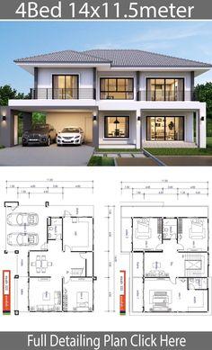 Zen House Design, 4 Bedroom House Designs, 2 Storey House Design, Bungalow House Design, Design Bedroom, Home Design, House Plans Mansion, Porch House Plans, Dream House Plans