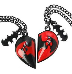Batman and Harley Quinn BFF Necklace Let's say that you are a crazy clown hell-bent on killing lots of folks in Gotham and you find yourself in love with an equally crazy gal you met in Arkham Asylum. Well, this is the perfect necklace for the both of you to wear. See more at: http://technabob.com/blog/2015/01/08/batman-harley-quinn-bff-necklace/#sthash.kMh7JuAR.dpuf
