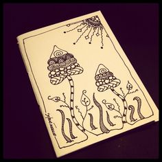 Illustrated notebook cover, zentangle design. Diy notebook A6. Quaderno #09