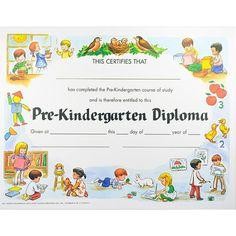 Preschool Colorful Diploma | PreSchool, Kindergarten Graduation ...