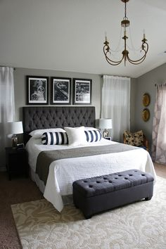 master bedroom! I'll be on the hunt for 3 pieces of framed art to place above my bed like this... Hmm, now for a theme...