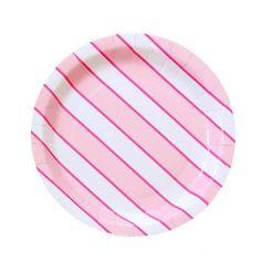 "9"" Pink Stripe Plate"
