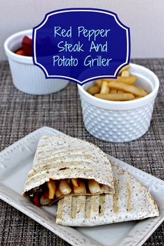 Red Pepper Steak and Potato Griller ~ Enter to win a Bamboo Cutting Board! Fun Easy Recipes, Wrap Recipes, Steak Recipes, Side Dish Recipes, New Recipes, Dinner Recipes, Easy Meals, Dessert Recipes, Favorite Recipes