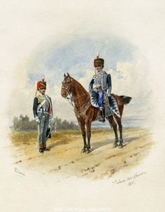 This is a beautiful reproduction print of a 1811 watercolor drawing of two 7th Queens Own Hussars officers made by a 19th century British