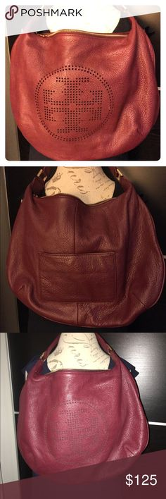 Fabulous Tori Burch red pebbled leather handbag Fabulous Tori Burch red pebbled leather hobo shoulder bag. Tory Burch Bags Shoulder Bags