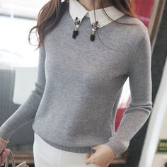 2016 new hot sale women's spring autumn winter turn-down collar beaded sweaters woman base pullover shirts lady sweater 4 color