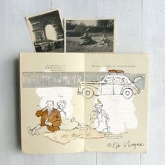 On their way in their vintage car to Paris my grandparents take a picnic break near Valenciennes, early 1950s. Cute art print with vintage photos, drawings and mixed media in art journal by Els Vlieger