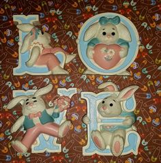 LOVE Bunny Letters Wall Plaques Nursery by PurePoetrysEmporium