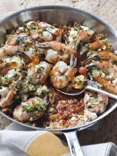 Barefoot Contessa - Recipes - Roasted Shrimp (sub jumbo prawns) With Feta