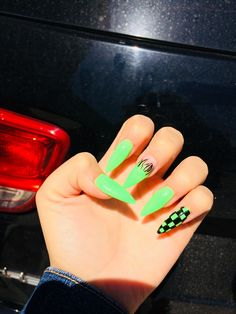 neon green checkered nails – aesthetics, You can collect images you discovered organize them, add your own ideas to your collections and share with other people. Colored Acrylic Nails, Simple Acrylic Nails, Summer Acrylic Nails, Edgy Nails, Sharp Nails, Stylish Nails, Green Nail Designs, Cute Acrylic Nail Designs, Neon Green Nails