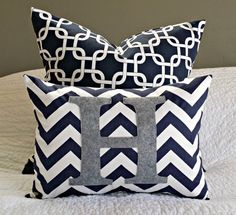 Navy and Grey Nursery colors: Chevron Monogrammed Pillow Cover  Navy and White by nest2impress,