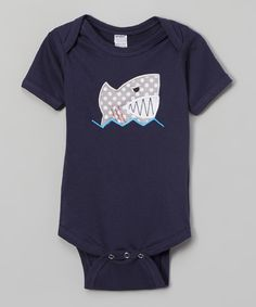 Look at this Navy Shark Appliqué Bodysuit - Infant on #zulily today!