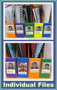 Individual Student Bins for Classroom Organization (from Classroom Organization RoundUP with 100+ ideas!) at RainbowsWithinReach