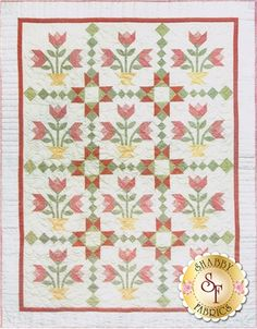 Tulips From The Past Pattern: This wonderful quilt pattern features a whimsical tulip design just in time for Spring! Finished quilt measures 61