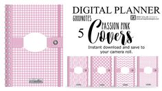 Instant download Digital Planner Covers for iPad GoodNotes Passion Pink Bundle. Download Digital, Good Notes, Ipad Pro, Printable Planner, Notebooks, Passion, Random, Handmade Gifts, Cover