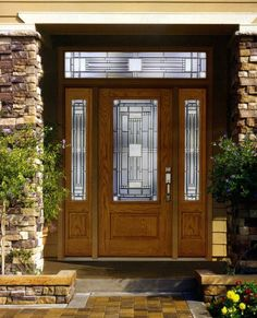 Furniture Elegant Natural Brown Wooden Fiberglass Entry Doors Front Yard Landscaping Ideas For Ranch Style Homes Design Inspirations 720x889 Ideas Kinds Of Modern Models Front Doors Ideas