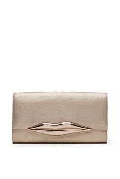 DVF | The iconic Carolina Lips Clutch shines in gold, metallic canvas.  http://on.dvf.com/198b4P6