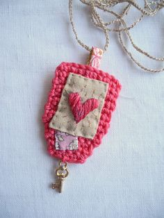 Embroidered heart crochet liberty fabric necklace by giovabrusa