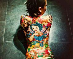 Snow white (disney version) full color back tattoo