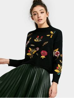 Floral Patched Drop Shoulder Sweater - BLACK ONE SIZE