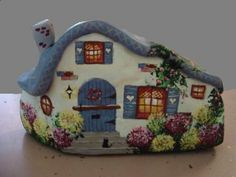 Painted cottage rock by Trisha Webster