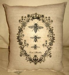 French Queen Bee Pillow with Crown Shabby by frenchcountrydesigns, $12.99